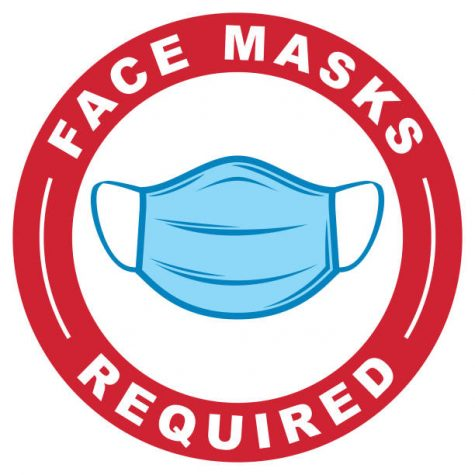 A simple vector logo of a Covid-19 protective face mask with the text Face Masks Required in a red circle